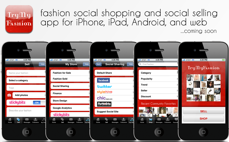 TryMyFashion fashion social shopping and social selling app for iPhone, iPad, Android, and web